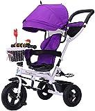 Puppenwagen Multifunktionale Spaziergänger Trike Fahrrad-Baby-Trolley mit Bremsen und Absetzkipper Markise Folding Kinder Tricycle 6 Monate - 6 Jahre alt Lila Babyartikel
