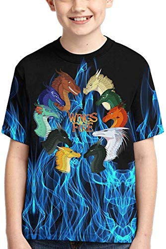 XCNGG Niños Tops Camisetas Top of The Line Logo Wings of Fire T Shirt Boys,Kids Girls Short Sleeve,3D Printed Sports Short Sleeve Novelty Round Neck Top