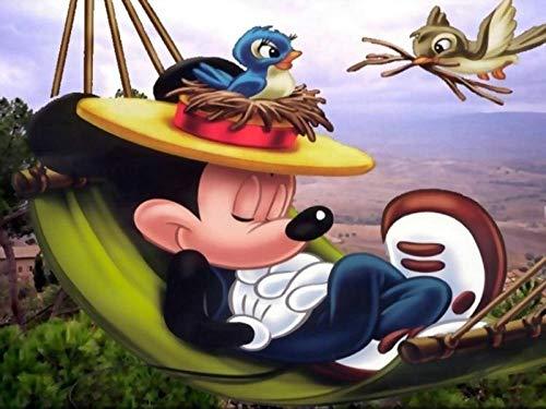lcyfg Houten puzzel van hoge kwaliteit 1000 stukjes educatief speelgoed voor volwassenen, decompressie voor kinderen Dibujos animados de Mickey Mouse en un nido de pájaros en un sombrero