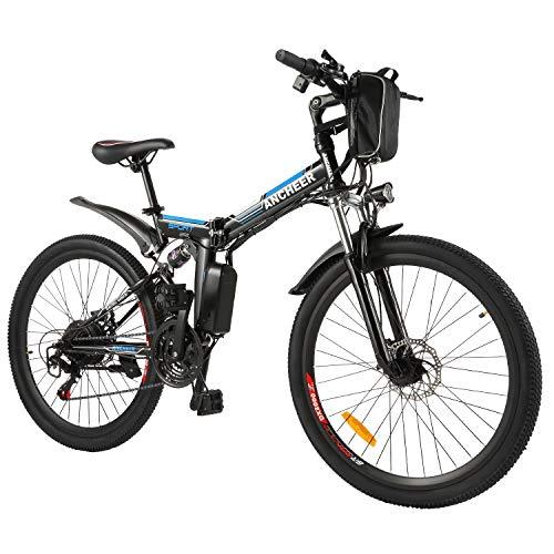 BIKFUN Bicicleta Eléctrica Plegable, 26' E-Bike para Adulto, Batería de Litio-Ion(36V, 8Ah), Motor 250W, Shimano 21 Marchas (26' Aventuras-Negras)