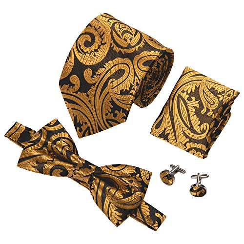 Tie and Bow Tie Set Gold Paisley Wedding Party Necktie for Men