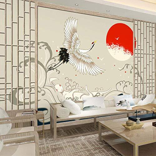 3D Stereo Retro Gru Dalla Corona Rossa Carta Da Parati Giapponese Tatami Sfondo Onda Murale Ukiyo-E