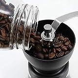 Molinillo manual de granos de café-cilindro de cocina de vidrio templado pequeño molino de granos de café molino de café doméstico con lata sellada