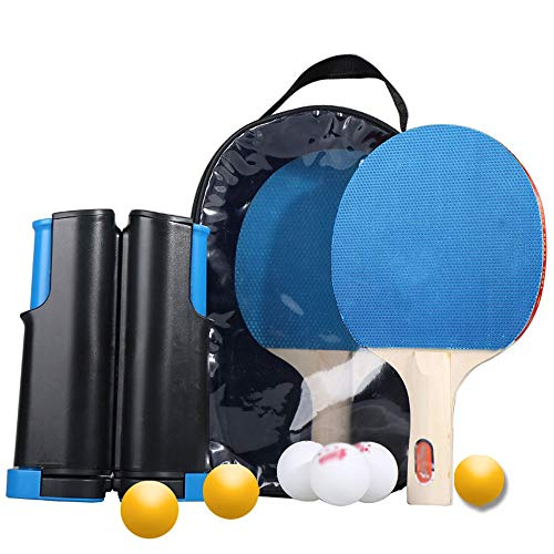 Fantastic Deal! HEXL Ping Pong Paddle Set with Retractable Table Tennis Net, Two Premium Paddles, 6 ...