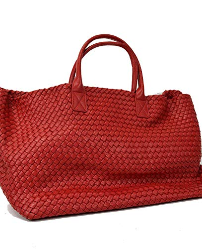 De Luca Bolso de hombro mochila Shopper grande de auténtica piel de becerro trenzada Rojo Size: 40x25x20