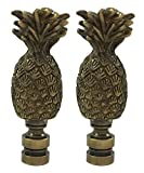 Royal Designs Trendy Resort Pineapple 3' Lamp Finial for Lamp Shade, Antique Brass - Set of 2