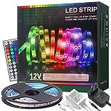 Tira LED RGB 5 Metros, 12V con 150 LEDS, 20 Colores Multi-Modos, Control Remoto de 44 Claves, Impermeable IP65, autoadhesiva, para Iluminación, interior, Fiestas[Clase de eficiencia energética A+++]