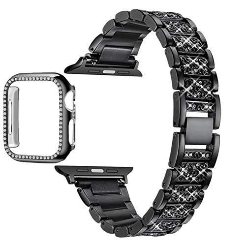 Para Apple Watch Band Series 6 5 4 3 2 1 Correa para mujer Lady Band para IWatch 6 44MM 40MM 42MM 38MM Pulsera de acero inoxidable-Negro, iWatch 44mm
