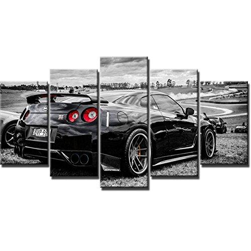 Moderne Kunst Rahmen HD gedruckt Wand Leinwand Fotos 5 Panel Nissan GTR Home Dekoration Auto Wohnzimmer Gemälde modulare Poster, Größe 3, mit Gerahmten
