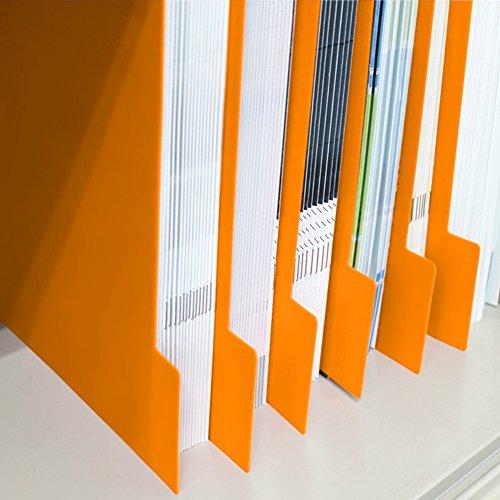 仕切りガイド バーチカル A4 タテ型 仕切り板 書類 ファイル 棚 本棚 引き出し 仕切り 収納 トレー 10枚セット (オレンジ)