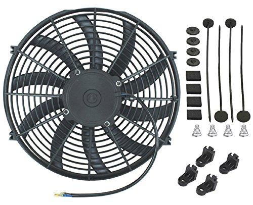 American Volt Ventilador de motor eléctrico reversible 12 V Radiador Condensador Refrigerador de alto rendimiento Motor de flujo de aire Potencia CFM (14 pulgadas pulgadas)