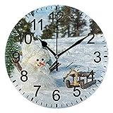 Kncsru Invierno Navidad Nieve Muñecos de Nieve Reloj de Pared Silencioso Funciona con Pilas Reloj de...