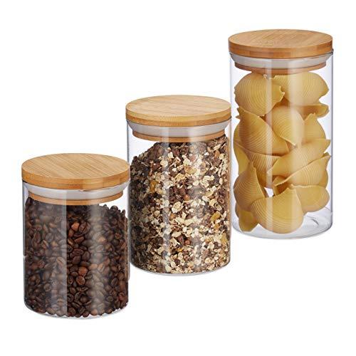 Relaxdays 10027993 voorraaddozen glas, set van 3, maten 500, 700, 1000 ml, voor pasta, rijst, muesli, koffie, D 9,5 cm, bamboe, natuur