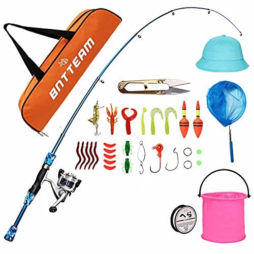 Mini Spinnng Combos de Carrete y caña con Sombrero de señuelos de Carrete de caña de Pescar telescópica Cubo Plegable Red retráctil Conjunto de línea de Pesca Combos de Pesca para niños