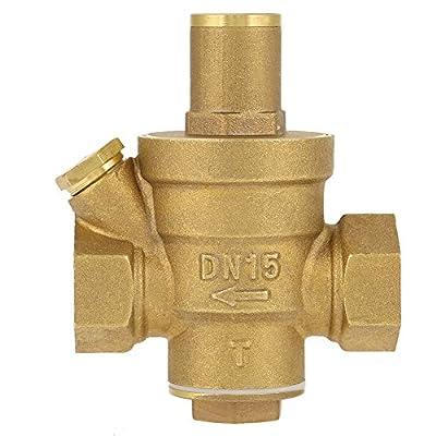 "DN15 1/2"" Relief Valve Brass Adjustable Water Pressure Reducing Regulator Valve Plumbing Tool Thread by Hilitand"