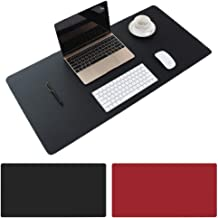 Large Desk Pad, Non-Slip PU Leather Desk Mouse Pad Waterproof Desk Pad Protector, Dual-Side Use Desk Writing Mat for Office Home, 80cm x 40cm (Black&Red)