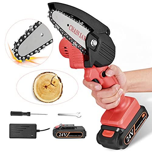 4YANG Sega per potatura manuale, motosega elettrica a batteria da 4 pollici, motosega portatile mini con seghe a catena elettriche, per taglio e potatura di rami da giardino (rossa)