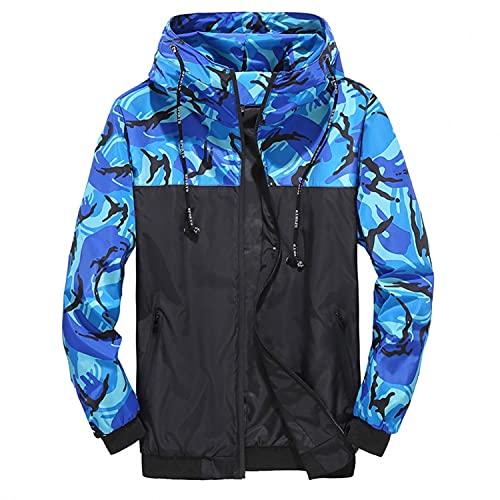 aihihe Mens Lightweight Jackets Colorblock Camo Printed Zip Hooded Sweatshirts Jumper Hoodies