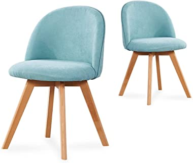 FETYDSE Fabric Dining Chairs Set of 2 with Backrest Soft Cushion and Beech Wooden Legs for Living Room Bedroom Kitchen Lake B