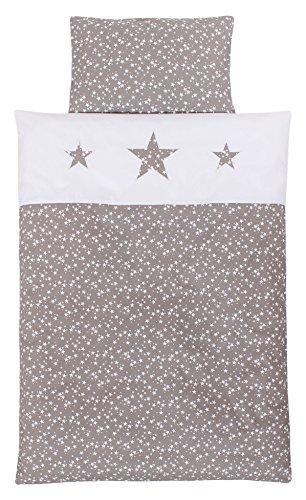 Babybay 410727 Linge de lit d'enfants en piqué, Taupe Blanches avec Application d'étoile, Multi Color, Taille Unique