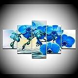 DGGDVP El envío Libre de la Flor de Las orquídeas Azules 5 Paneles Fondos de Pantalla Modernos modulares póster Arte Lienzo Pintura para Sala de Estar decoración del hogar tamaño 2 con Marco