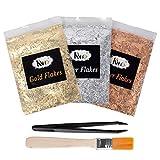 KINNO Imitation Gold Flocken Set Dekorfolie zum Basteln Künstlerbedarf zum Vergolden Malerei und DIY Kunsthandwerk Gold+Silber+Rot (1g Set+Bürste+Pinzette)