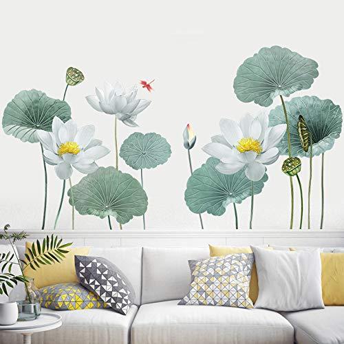 COVPAW® Wandtattoo Wandaufkleber XXL Lotus Weiß Weiss Blumen Wandsticker Wandbild Bilder Wohnzimmer Schlafzimmer Deco