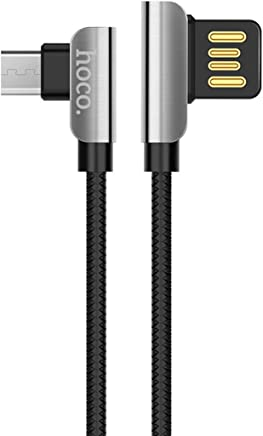 hoco. Exquisite Steel 90 Degree Micro-USB Fast Charging TPE Braid Double-Sided 2.4A Current Data Cable (Black, 1.2 m)