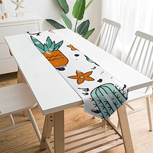 None-brands - Camino de mesa con temática de cactus para jardín, cocina, cocina, cena, fiestas de reunión familiar, decoración del hogar, decoración de casa, regalos de boda, corredores de 13