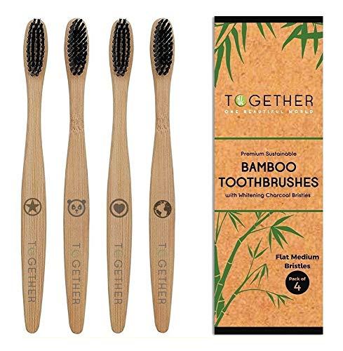 Juego de 4 cepillos de dientes de bambú natural premium de Together | ecológicos y biodegradables | cerdas de bambú de origen sostenible y sin BPA