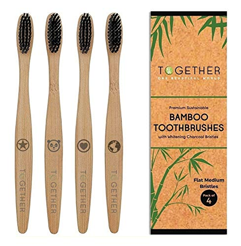 Juego de 4 cepillos de dientes de bambú natural premium de Together | ecológicos y biodegradables | cerdas de bambú de...