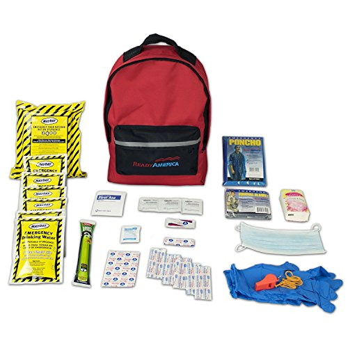 Ready America 70180 72 Hour Emergency Kit, 1-Person, 3-Day Backpack, Includes First Aid Kit, Survival Blanket, Portable Preparedness Go-Bag for Camping, Car, Earthquake, Travel, Hiking, and Hunting