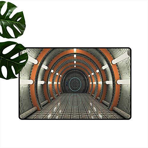 Anzhutwelve Spazio Esterno, Simpatici zerbini Alieni attacchi terrificati Donna Umana Contro Monster Sci Fi Discovery, Tappeto per Camera dei Bambini, Poliestere, Stile 09, 18'x60'(W45cm x L150cm)
