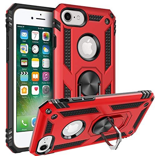 Fetrim Funda para iPhone 7, Carcasa Shock Absorción de TPU y PC con Anillo de rotación Soporte para Apple iPhone 6/6S/7/8 Rojo