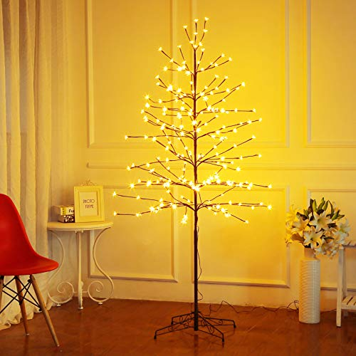 Bolylight LED Cherry Blossom Tree 6ft 208L and Indoor and Outdoor Decoration Lighted Tree for Bedroom/Party/Wedding/Office/Home Warm White