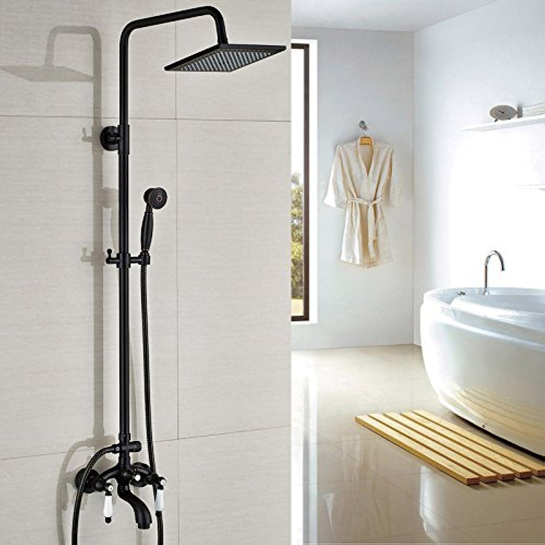 Luxurious shower Bad Orb Dual Griff 8  Messing Dusche Wasserhahn Wandhalterung Wasserhahn Mischbatterie Badewanne, Dusche mit abnehmbarem, Schwarz