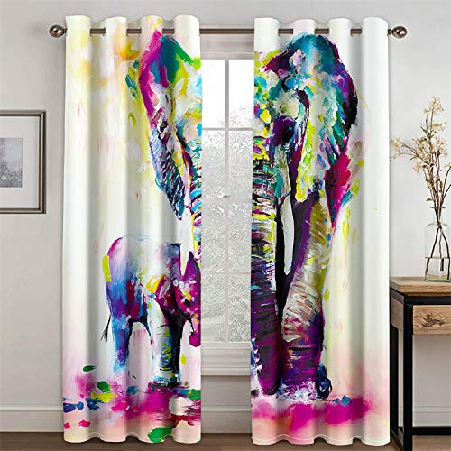 YUNSW Tende Decorative Elefante Soggiorno Cucina Camera da Letto Tende Oscuranti Set 2 Pezzi