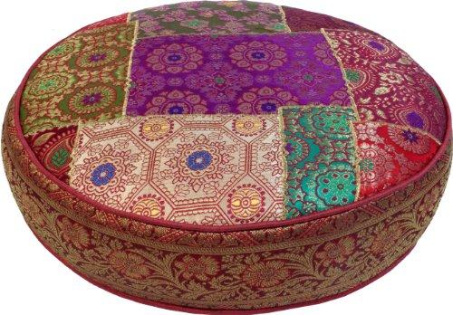 Guru-Shop Orientalisches Rundes Patchwork Kissen 50 cm, Sitzkissen, Bodenkissen mit Baumwollfüllung - Rot/bunt, Synthetisch, Zierkissen, Dekokissen, Sofakissen