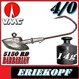 Anzuelos de Pesca de Adrenalina VMC Jigkopf Eriekopf tamaño 4/0 en 14 g VMC Barbarian 5150 RD 5 Unidades en el Set