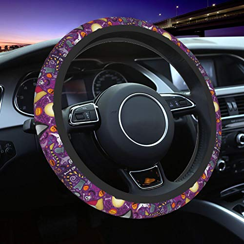 STEEL-ART Nightmare Before Christmas Car Steering Wheel Covers Cute Car Steering Wheel Cover Car Accessories for Women Protective Case Anti-Slip Neoprene Fit for Most Sedan, SUV (Purple)