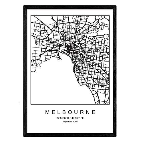 Nacnic Lámina Mapa de la Ciudad Melbourne Estilo nordico en Blanco y Negro. Poster tamaño A3 Sin Marco Impreso Papel 250 gr. Cuadros, láminas y Posters para Salon y Dormitorio