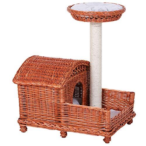 Pawhut Katzenhaus mit Sisalsäule, Katzenhöhle mit hohem Plattform, Katzenkorb mit Füßen, Weide Orange 62 x 42 x 72 cm