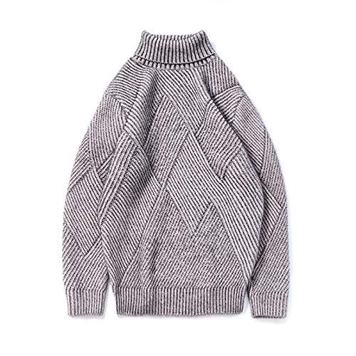 PPTS Suéter de cuello alto para hombre, delgado, grueso, dos solapas, para hombre