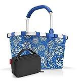 Reisenthel Set de carrybag BK Thermocase OY SBKOY Cesta de la compra con pequeña bolsa isotérmica, Batik Strong Blue + Black, Bolsa de viaje