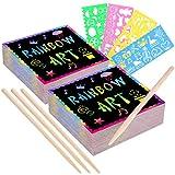 MIMORE - 200 unidades de papel para rascar arco iris con 4 lápices de madera y plantillas de dibujo, mini manualidades, set de arte fresco colorido DIY pintura bocetos dibujo libros de regalo