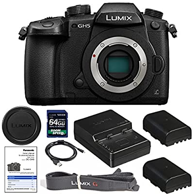 PanasonicLumix DC-GH5 Mirrorless Micro Four Thirds Digital Camera (Body Only) with 1200x 64gb SDXC Card, (2) BLF19 Batteries, Charger, Neckstrap, Body Cap AOM Starter Kit - International Version by AOM