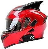 FEFCK Casque De Moto Multicolore avec Cornes Casque Bluetooth À Double Lentille Rue Voiture De Course Locomotive Red XL