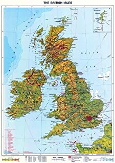 NEW MAP! XXL - 75 Inches - Original Relief British Isles Physical Map (School Version - Rolled and Laminated) By Wenschow Since 1908 with Certificate - Anti-reflex Laminated (Big Wall Map) Big Format (New Release - Hot off the press, up-to-date)