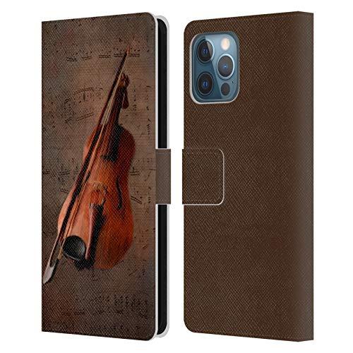 Head Case Designs Offizielle Simone Gatterwe Geige Vintage Und Steampunk Leder Brieftaschen Handyhülle Hülle Huelle kompatibel mit Apple iPhone 12 Pro Max