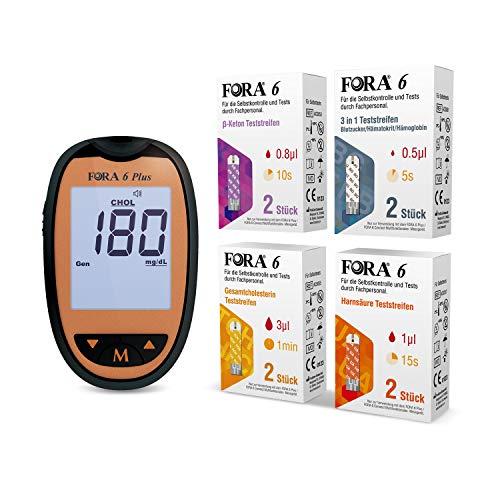 ForaCare 6 plus Blutzuckermessgerät (mg/dl) set mit 2 Stück β Keton Teststreifen, Harnsäure-Teststreifen, Gesamtcholesterin-Teststreifen, Hämatokrit- und Hämoglobin-Teststreifen (3-in-1)
